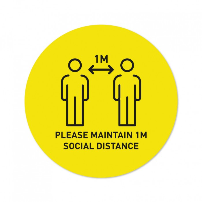 Covid-19 Floor Sticker Please Maintain 1m Social Distance 26cm Round Yellow 3pcs