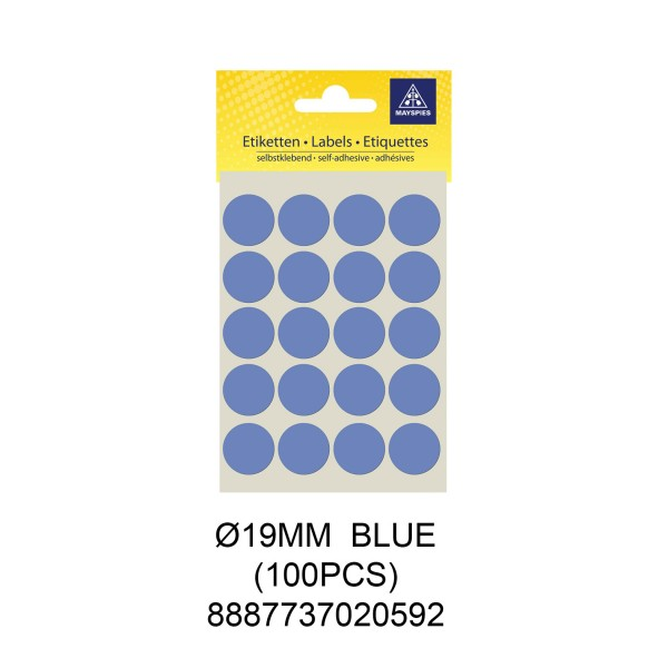 MAYSPIES MS019 COLOUR DOT LABEL / 5 SHEETS/PKT / 100PCS / ROUND 19MM BLUE