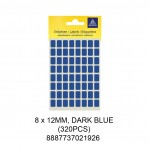 MAYSPIES MS-8X12MM COLOUR LABEL / 5 SHEETS/PKT / 320PCS / 8X12MM  DARK BLUE
