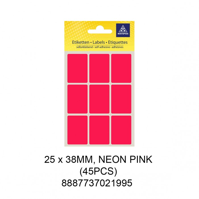 MAYSPIES MS-25X38MM COLOUR LABEL / 5 SHEETS/PKT / 45PCS / 25X38MM NEON PINK