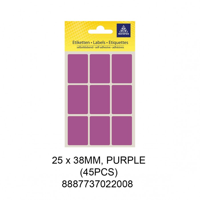 MAYSPIES MS-25X38MM COLOUR LABEL / 5 SHEETS/PKT / 45PCS / 25X38MM PURPLE