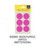 MAYSPIES MS032 COLOUR DOT LABEL / 5 SHEETS/PKT / 30PCS / ROUND 32MM NEON PURPLE