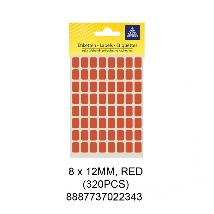 MAYSPIES MS-8X12MM COLOUR LABEL / 5 SHEETS/PKT / 320PCS / 8X12MM RED