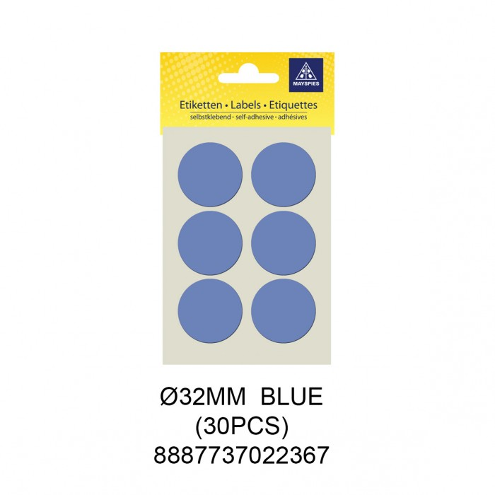 MAYSPIES MS032 COLOUR DOT LABEL / 5 SHEETS/PKT / 30PCS / ROUND 32MM BLUE