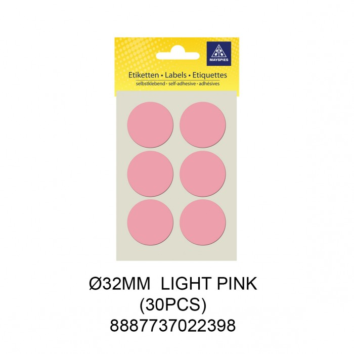 MAYSPIES MS032 COLOUR DOT LABEL / 5 SHEETS/PKT / 30PCS / ROUND 32MM LIGHT PINK