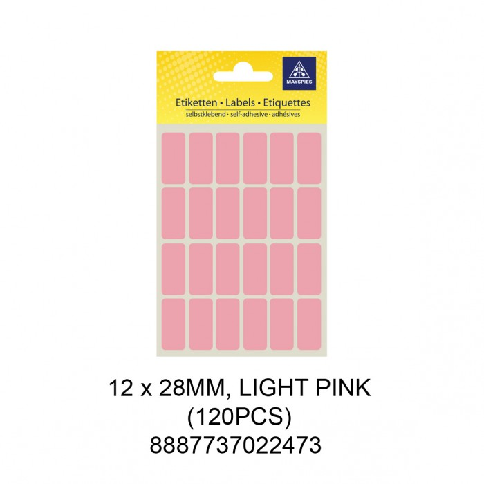 MAYSPIES MS-12X28MM COLOUR LABEL / 5 SHEETS/PKT / 120PCS / 12X28MM LIGHT PINK