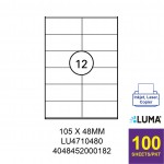 LUMA LU4710480 LABEL FOR INKJET / LASER / COPIER 100 SHEETS/PKT WHITE 105X48MM