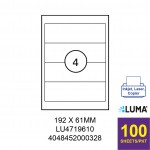 LUMA LU4719610 LABEL FOR INKJET / LASER / COPIER 100 SHEETS/PKT WHITE 192X61MM