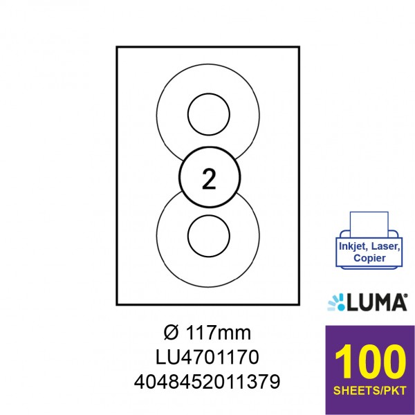 LUMA LU4701170 LABEL FOR INKJET / LASER / COPIER 100 SHEETS/PKT WHITE ROUND CD 117MM
