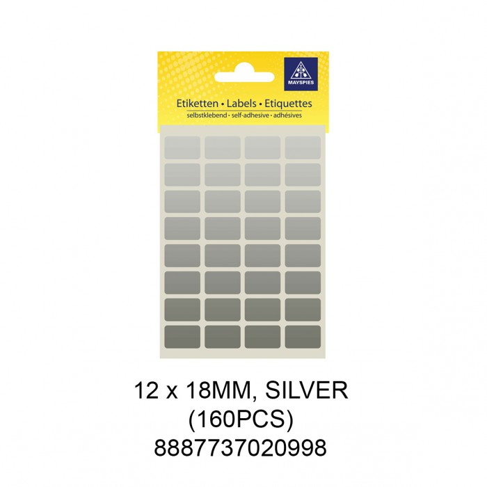 MAYSPIES MS-12X18MM COLOUR LABEL / 5 SHEETS/PKT / 160PCS / 12X18MM SILVER