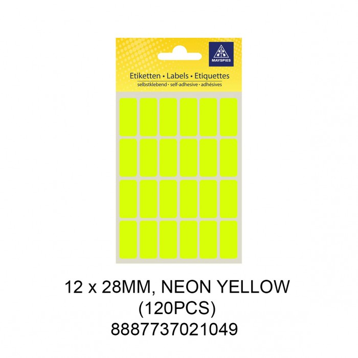 MAYSPIES MS-12X28MM COLOUR LABEL / 5 SHEETS/PKT / 120PCS / 12X28MM NEON YELLOW