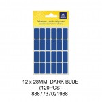 MAYSPIES MS-12X28MM COLOUR LABEL / 5 SHEETS/PKT / 120PCS / 12X28MM DARK BLUE
