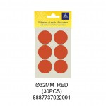 MAYSPIES MS032 COLOUR DOT LABEL / 5 SHEETS/PKT / 30PCS / ROUND 32MM RED