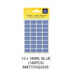 MAYSPIES MS-12X18MM COLOUR LABEL / 5 SHEETS/PKT / 160PCS / 12X18MM BLUE