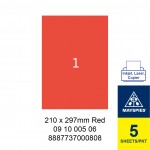 MAYSPIES 09 10 005 06 LABEL FOR INKJET / LASER / COPIER 5 SHEETS/PKT RED 210X297MM